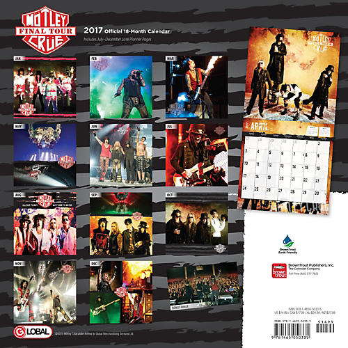 Browntrout Publishing Motley Crue 2017 Global Calendar