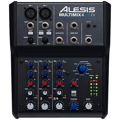 alesis multimix 4 usb fx 4 channel mixer with effects usb audio interface guitar center. Black Bedroom Furniture Sets. Home Design Ideas