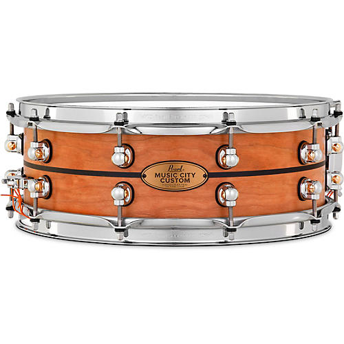 Pearl Music City Custom Solid Shell Snare Cherry with Ebony Inlay