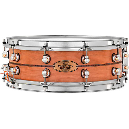 Pearl Music City Custom Solid Shell Snare Cherry with Kingwood Center Inlay