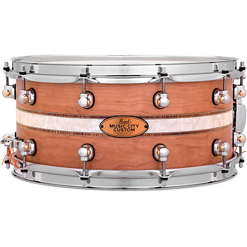 Pearl Music City Custom Solid Shell Snare Cherry with Kingwood Royal Inlay