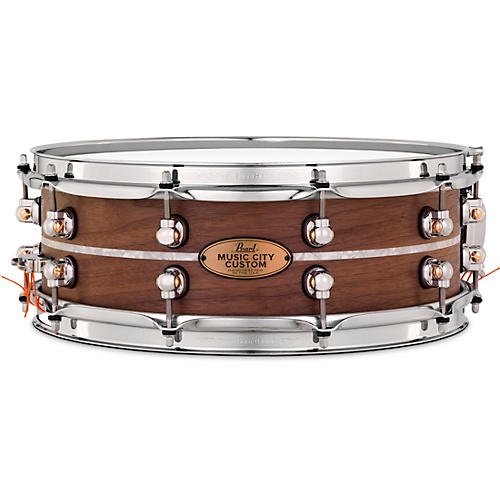 Pearl Music City Custom Solid Shell Snare Walnut with Nicotine Marine Inlay