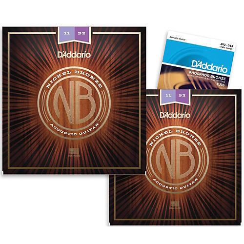 D'Addario NB1152 Nickel Bronze Custom Light Acoustic Strings 2-Pack with EJ16 Phosphor Bronze Light Single-Pack