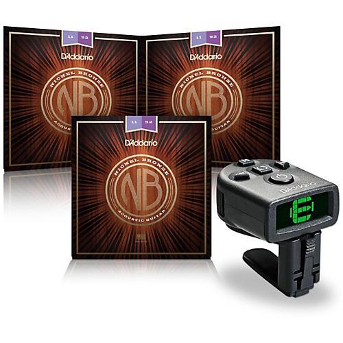 D'Addario NB1152 Nickel Bronze Custom Light Acoustic Strings 3-Pack with FREE NS Micro Headstock Tuner