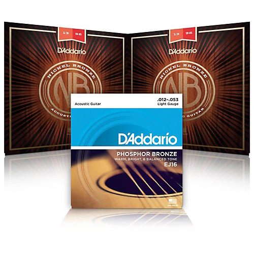 D'Addario NB1253 Nickel Bronze Light Acoustic Strings 2-Pack with EJ16 Phosphor Bronze Light Single-Pack
