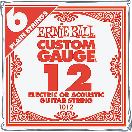 Ernie Ball NCKL Plain Single Guitar String .010 Gauge 6-Pack