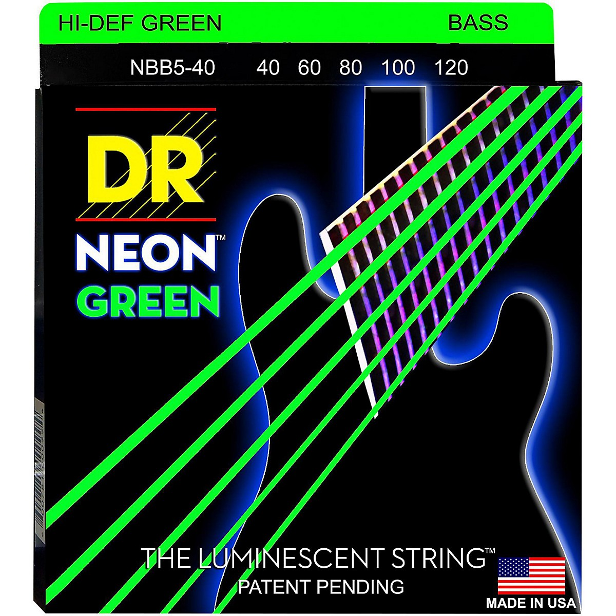 DR Strings NEON Hi-Def Green Bass SuperStrings Light 5-String