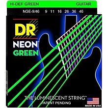 DR Strings NEON Hi-Def Green SuperStrings Light Top Heavy Bottom Electric Guitar Strings Level 1