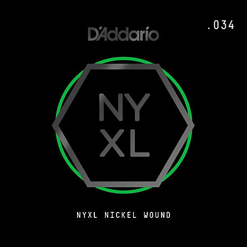 D'Addario NYNW034 NYXL Nickel Wound Electric Guitar Single String, .034