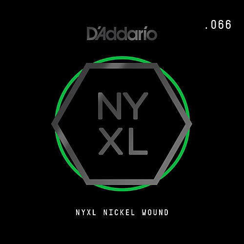 D'Addario NYNW066 NYXL Nickel Wound Electric Guitar Single String, .066