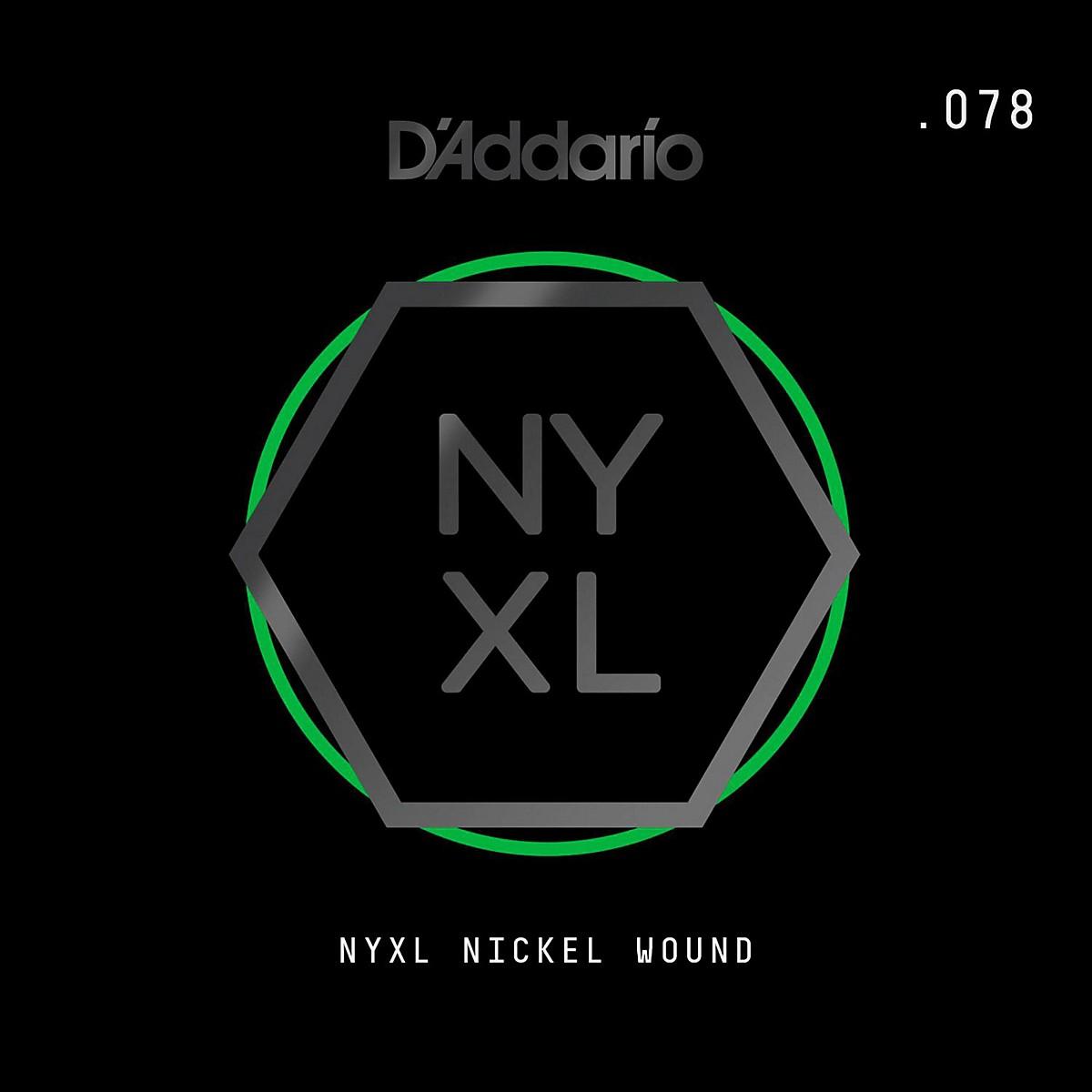 D'Addario NYNW078 NYXL Nickel Wound Electric Guitar Single String, .078