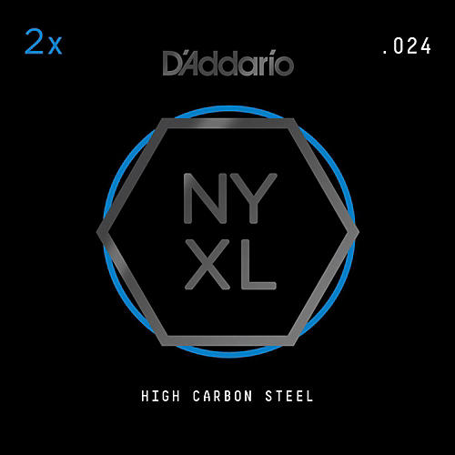 D'Addario NYPL024 Plain Steel Guitar Strings 2-Pack, .024