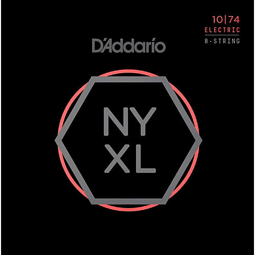 D'Addario NYXL1074 8-String Light Top/Heavy Bottom Nickel Wound Electric Guitar Strings (10-74)