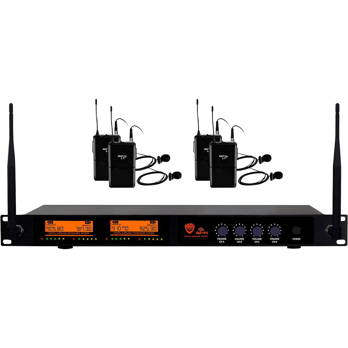 Nady Nady DW-44 Quad Digital Wireless Lapel Microphone System with Four Fixed UHF Frequencies with QPSK Modulation