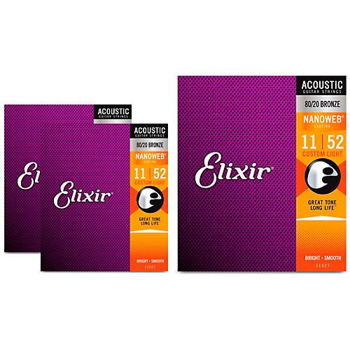 Elixir Nanoweb Custom Light Acoustic Guitar Strings 3 Pack
