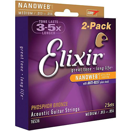 Elixir Nanoweb Medium Phosphor Bronze Acoustic Guitar Strings 2-Pack