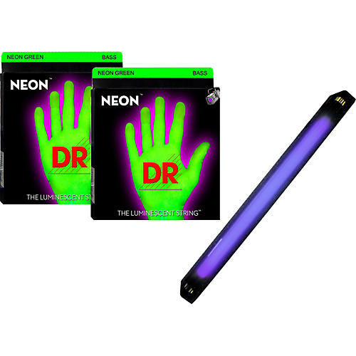 DR Strings Neon Phosphorescent Green Medium 4 String Bass Strings with Free American DJ Super Black Light