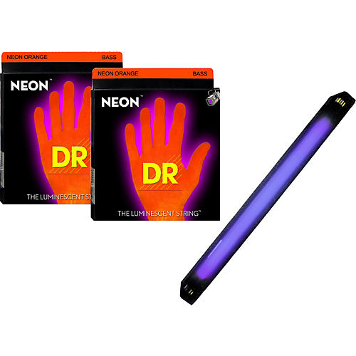 DR Strings Neon Phosphorescent Orange Medium 4 String Bass Strings with Free American DJ Super Black Light