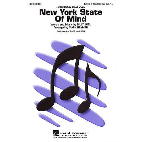 Hal Leonard New York State of Mind SATB a cappella by Billy Joel arranged by Mark Brymer