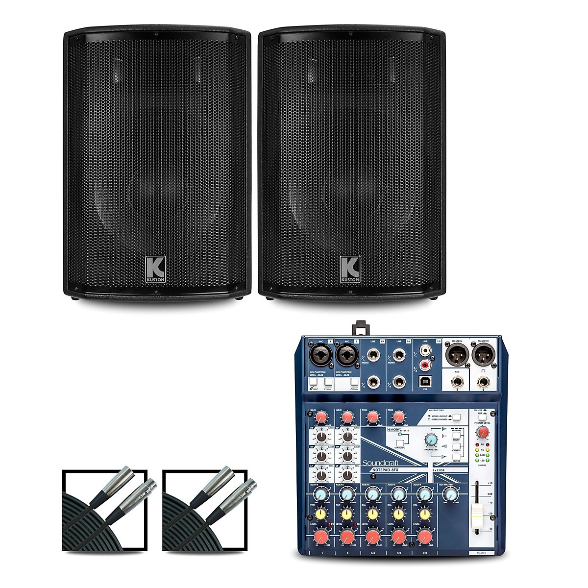 Soundcraft Notepad8FX Mixer and Kustom HiPAC Speakers