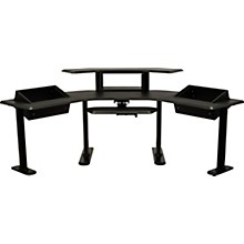 """Ultimate Support Nuc-005 Nucleus Series - Modular Studio Desk - Advanced Model Expanded II, 24"""" Extensions, Two Table Top 6 Space Racks, 2nd Tier, 4 Space Rack, Keyboard Tray"""