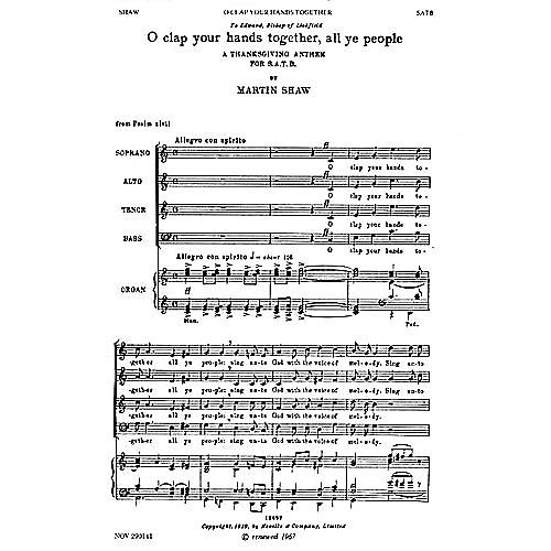 Novello O Clap Your Hands Together, All Ye People SATB Composed by Martin Shaw