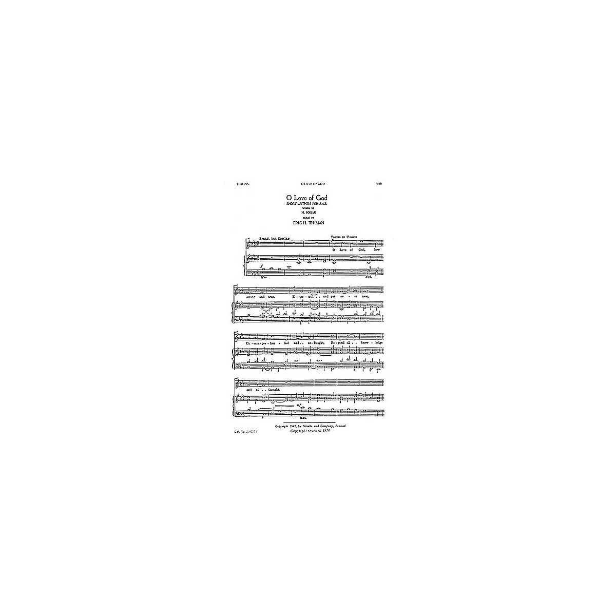 Novello O Love Of God SAB Composed by Eric Thiman