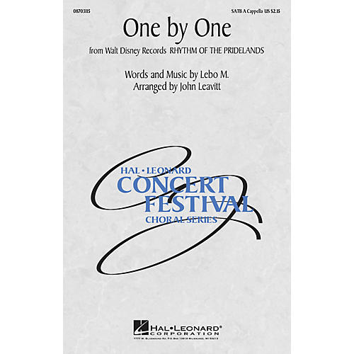 Hal Leonard One by One (from Rhythm of the Pridelands) SATB a cappella arranged by John Leavitt