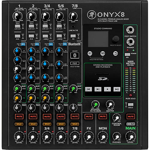 Mackie Onyx8 8-Channel Premium Analog Mixer with Multi-Track USB And Bluetooth