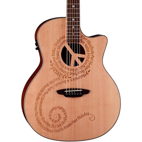 Luna Guitars Oracle Grand Concert Series Peace Acoustic-Electric Guitar
