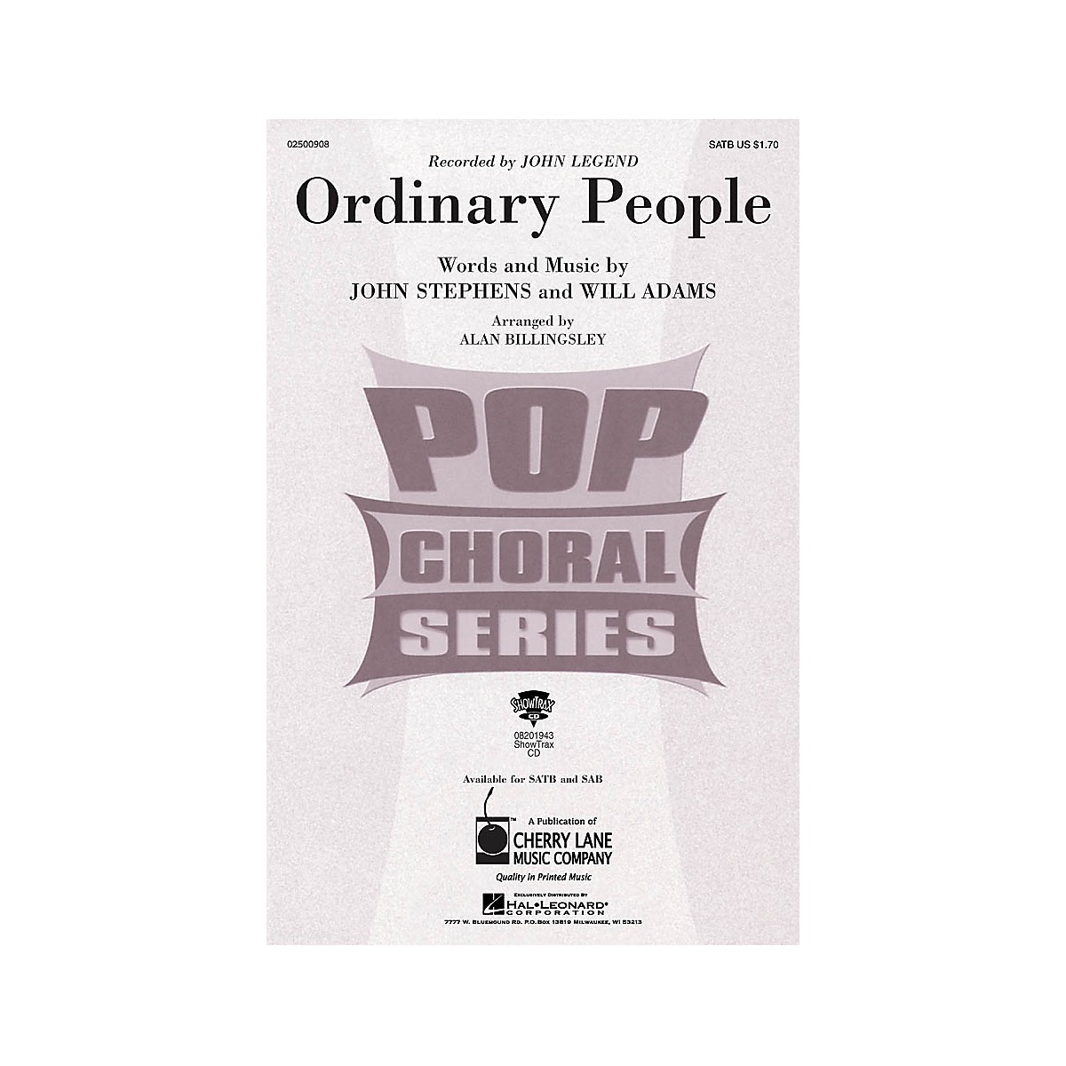 Cherry Lane Ordinary People SATB by John Legend arranged by Alan Billingsley