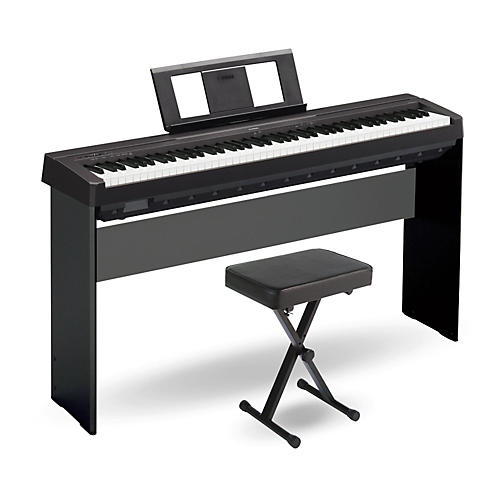 yamaha p 45 88 key weighted action digital piano black with wood stand and bench guitar center. Black Bedroom Furniture Sets. Home Design Ideas