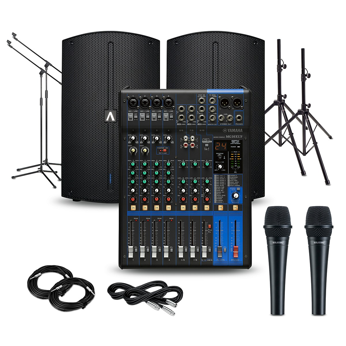 Yamaha PA Package with MG10XUF Mixer and Avante Achromic Series Powered Speakers