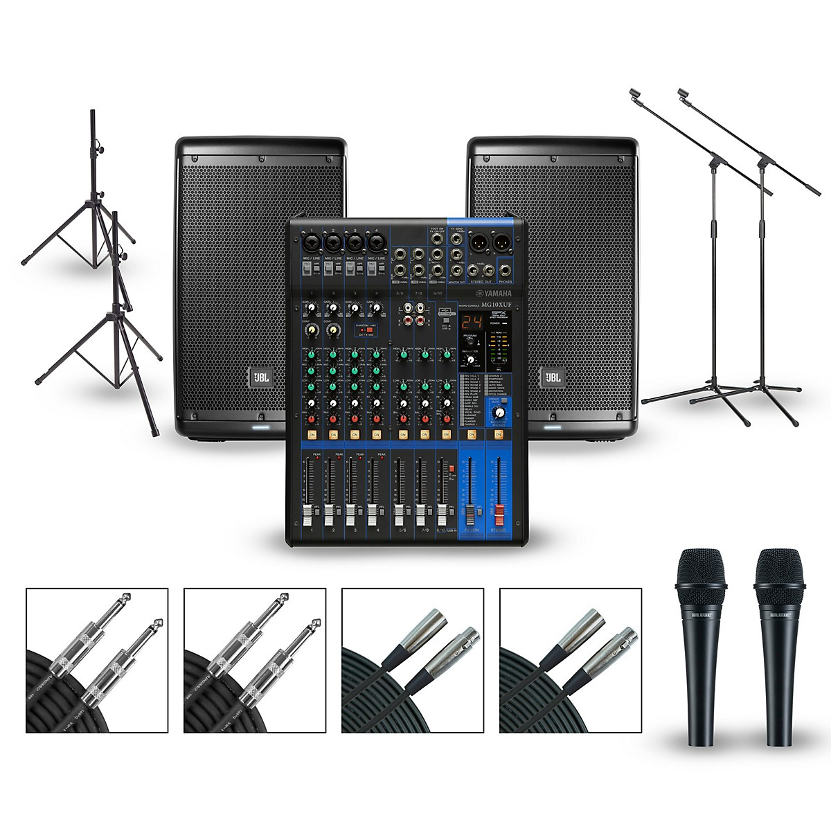 Yamaha PA Package with MG10XUF Mixer and JBL EON600 Powered Speakers