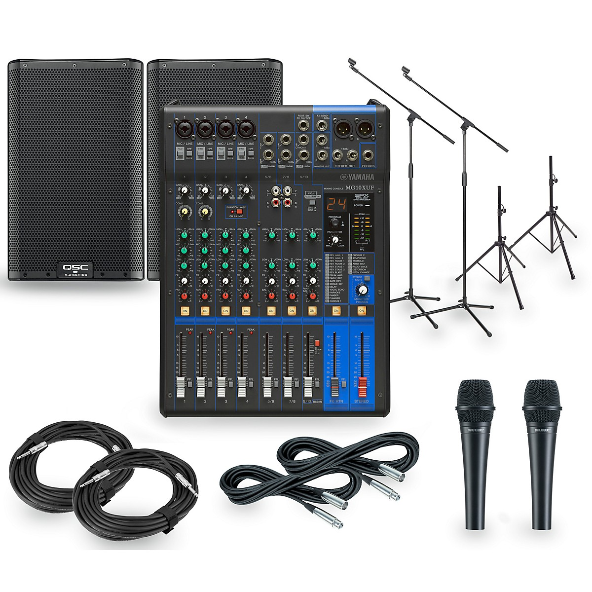 Yamaha PA Package with MG10XUF Mixer and QSC K.2 Powered Speakers