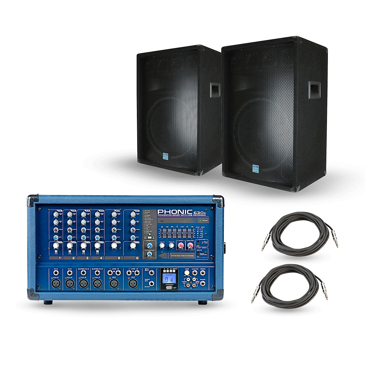 Phonic PA Package with Powerpod 630R Mixer and Gemini GSM Speakers
