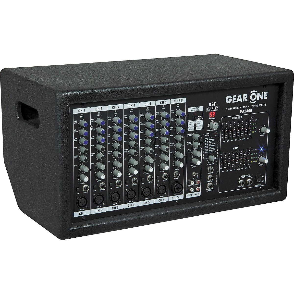 Gear One PA2400 8 Ch Powered Mixer 2 x 400 wt