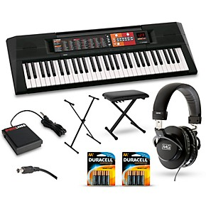 yamaha psr f51 61 key portable keyboard package guitar. Black Bedroom Furniture Sets. Home Design Ideas