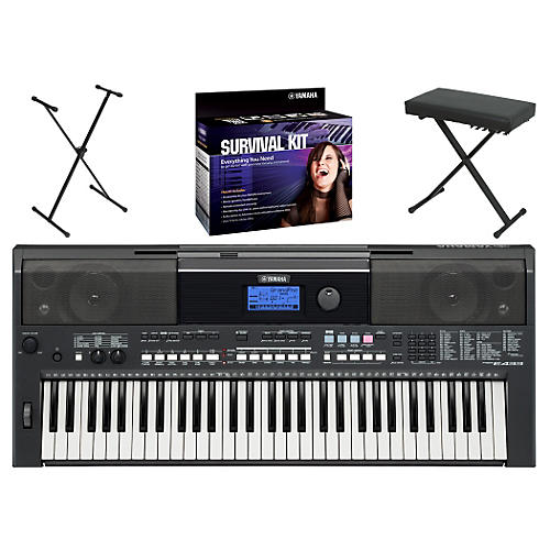 Yamaha PSRE433 Portable Digital Piano with Yamaha D2 Survival Kit, Bench, & Stand