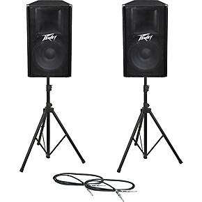 peavey pv115 speaker pair with stands and cables guitar center. Black Bedroom Furniture Sets. Home Design Ideas