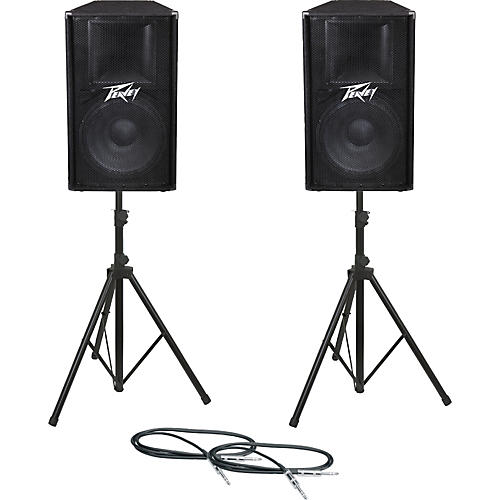 peavey pv115 speaker pair with stands and cables guitar. Black Bedroom Furniture Sets. Home Design Ideas