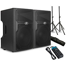 """Peavey PVXp 15 15"""" Powered Speaker Pair with Stands and Power Strip"""
