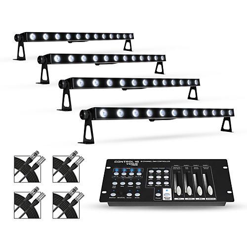 Proline Package with Four (4) Proline VENUE TriStrip3Z RGB LED Batten Strip Lights with DMX Controller and Cables