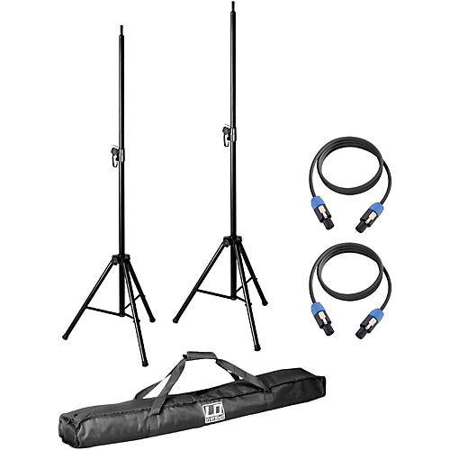 LD Systems Pair of Speaker Stands with Carry Bag and 2 Speakon Cables for Dave 8 System