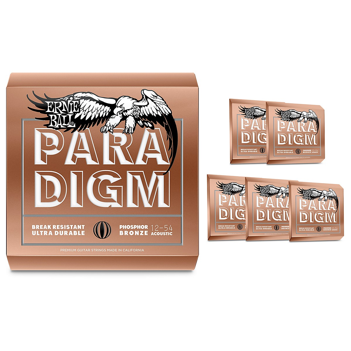 Ernie Ball Paradigm Phosphor Bronze Acoustic Guitar Strings, Medium Light (6-Pack)