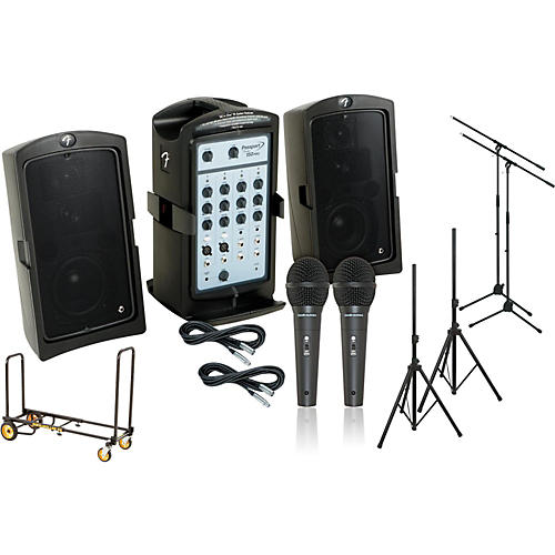 Fender Passport 150 Pro 2 Mic PA Package with Rock N Roller Cart