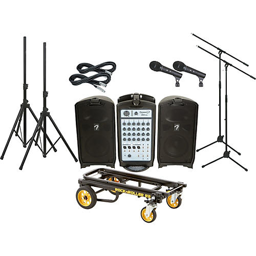 Fender Passport 300 Pro 2 Mic Package with Rock N Roller Cart