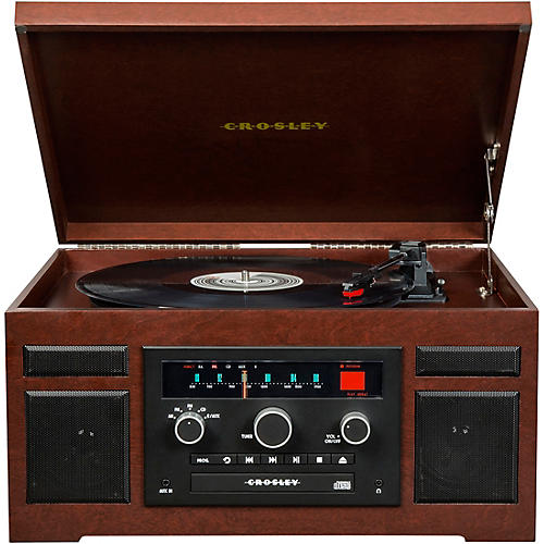 Crosley Patriarch Entertainment Center with Bluetooth and PVC veneer