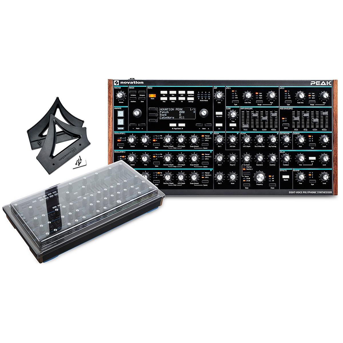 Novation Peak Desktop Synthesizer with Decksaver Cover and Stand