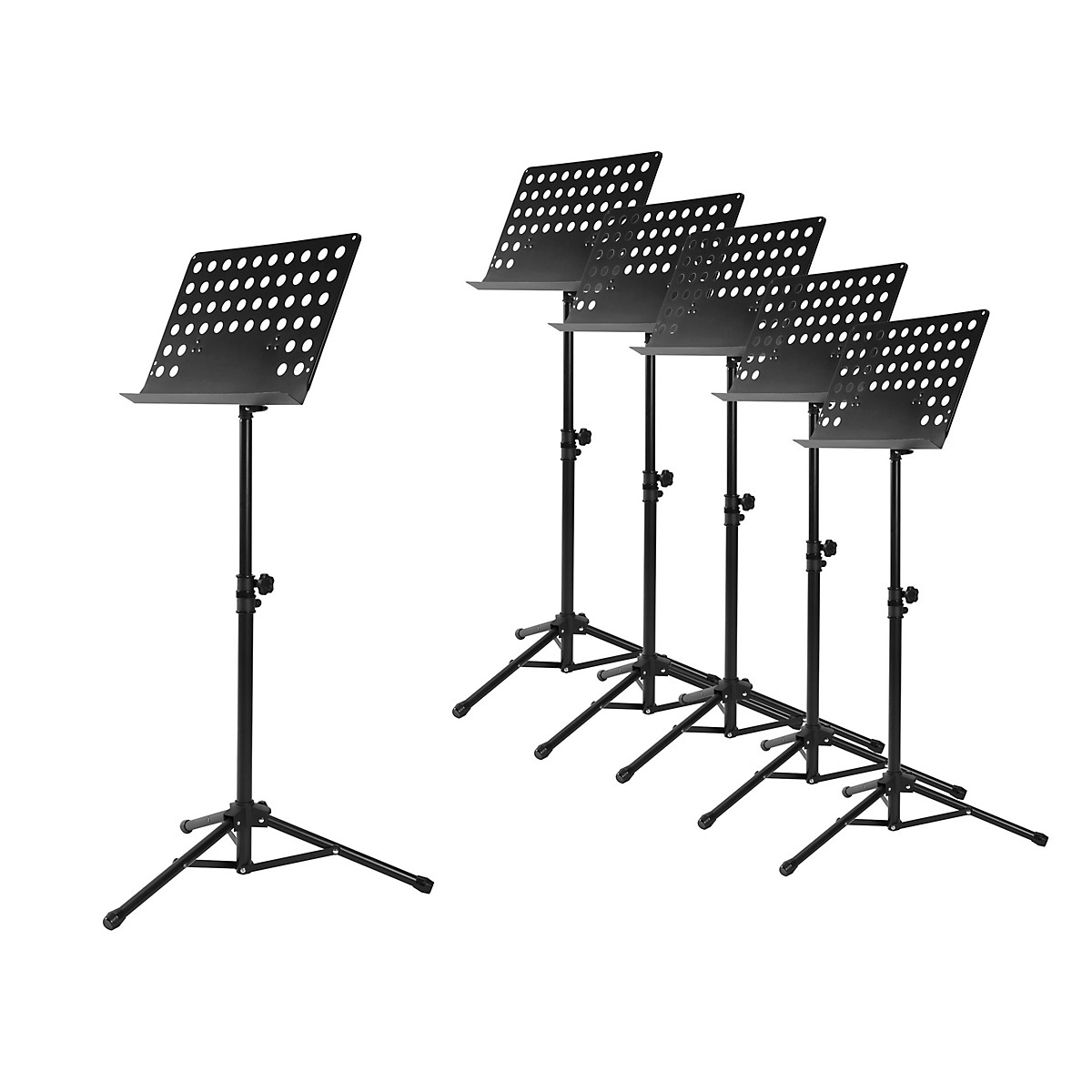 Musician's Gear Perforated Tripod Orchestral Music Stand, Black - 6 Pack